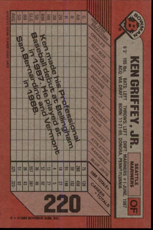 1989 Bowman #220 Ken Griffey Jr. RC back image