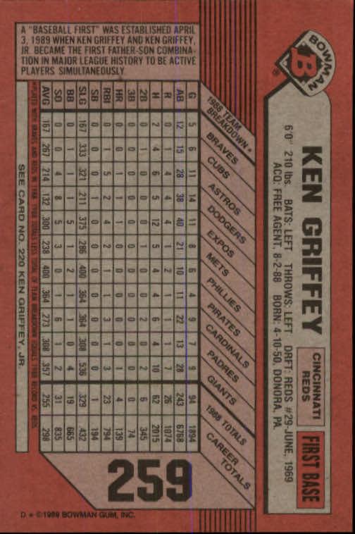 1989 Bowman #259 Ken Griffey Sr./Jr. back image