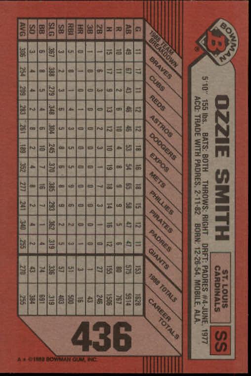 1989 Bowman #436 Ozzie Smith back image