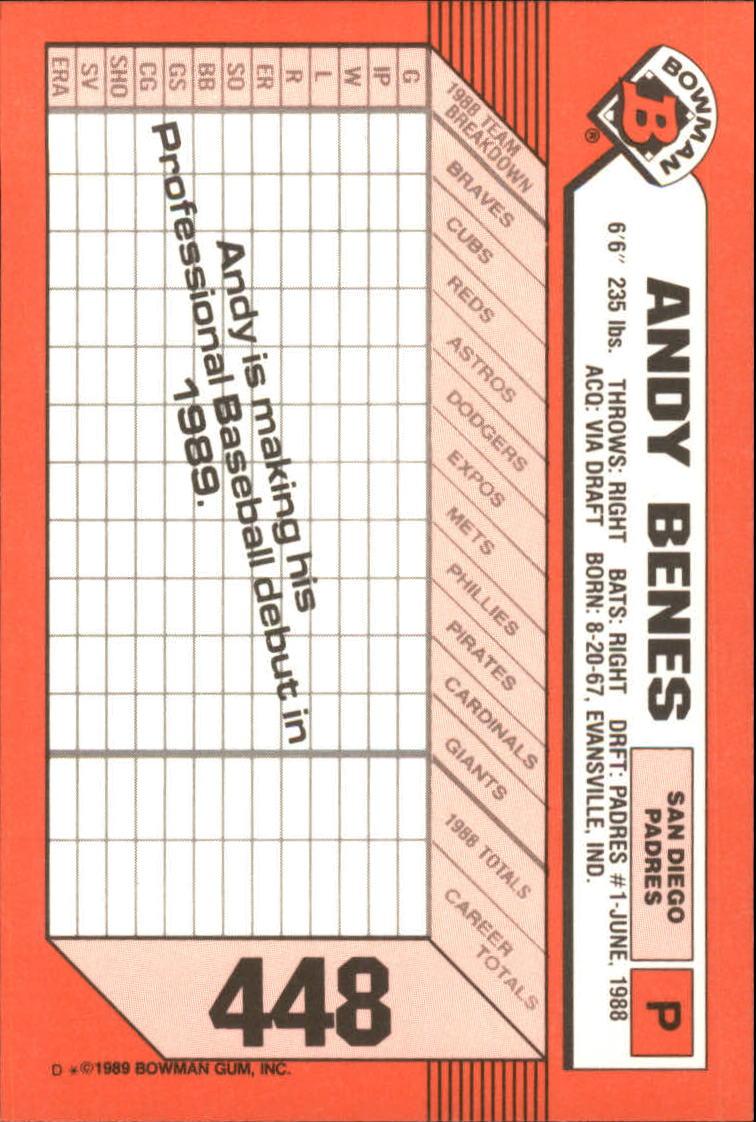 1989 Bowman Tiffany #448 Andy Benes back image