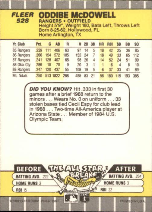 1989 Fleer #528 Oddibe McDowell back image