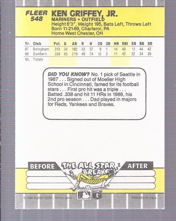 1989 Fleer #548 Ken Griffey Jr. RC back image