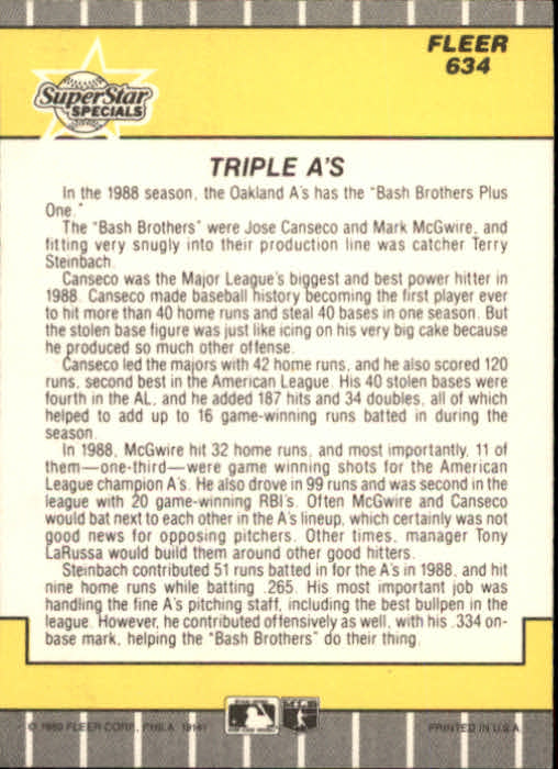 1989 Fleer #634 Jose Canseco/Terry Steinbach/Mark McGwire back image