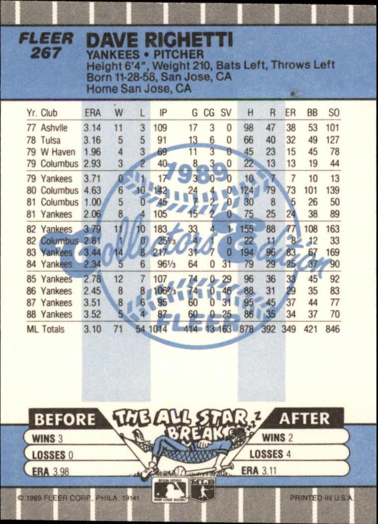 1989 Fleer Glossy #267 Dave Righetti back image