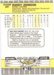 1989 Fleer Glossy #381 Randy Johnson back image