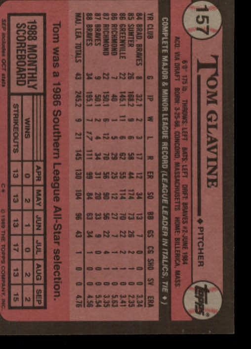 1989 Topps #157 Tom Glavine back image