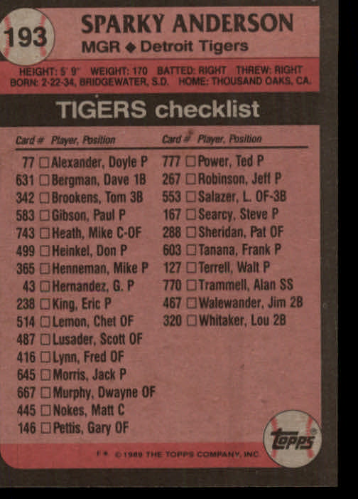 1989 Topps #193 Sparky Anderson MG/UER 553 Salazer back image