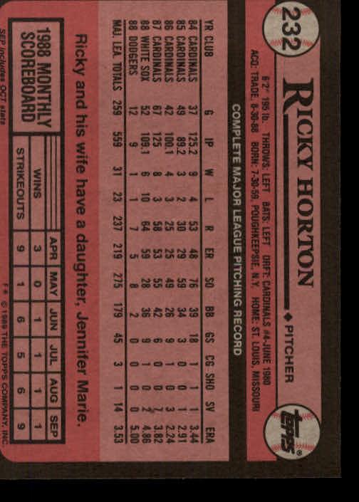 1989 Topps #232 Ricky Horton back image