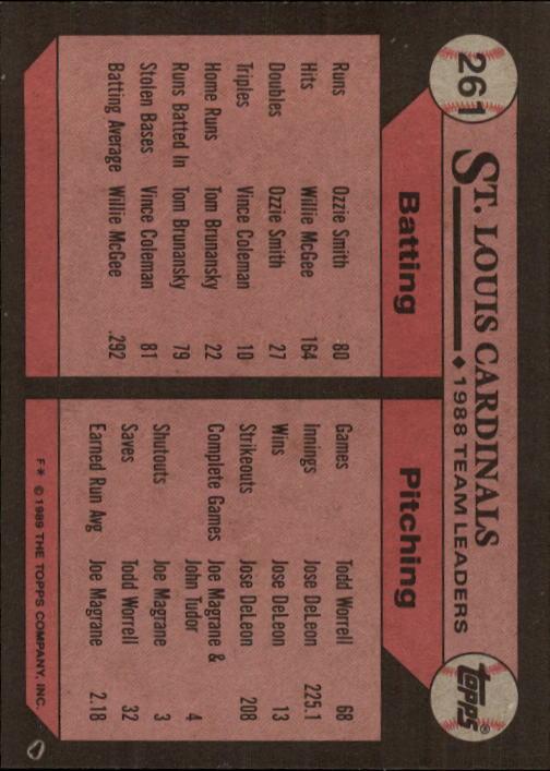 1989 Topps #261 Tom Brunansky/Luis Alicea TL back image