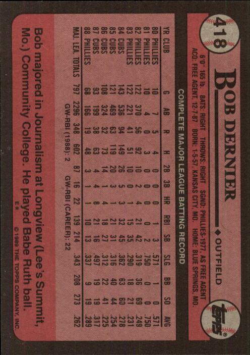 1989 Topps #418 Bob Dernier back image