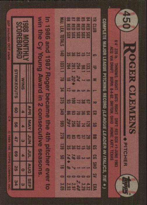 1989 Topps #450 Roger Clemens back image