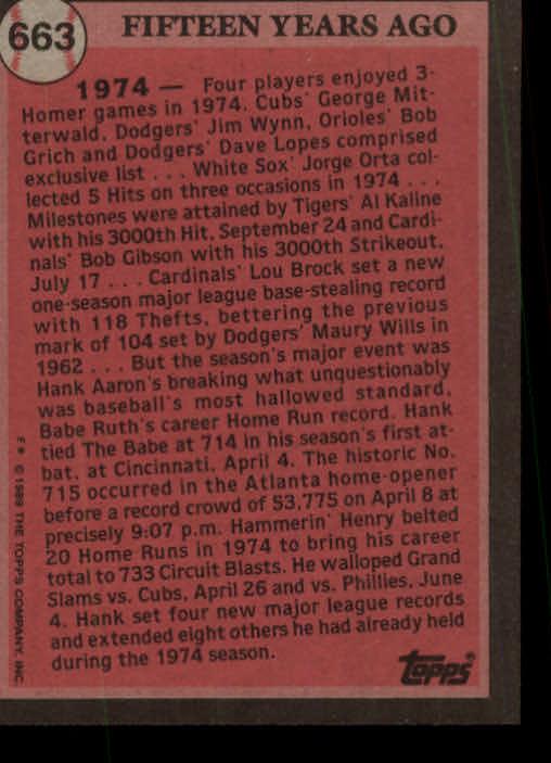 1989 Topps #663 Hank Aaron TBC74 back image