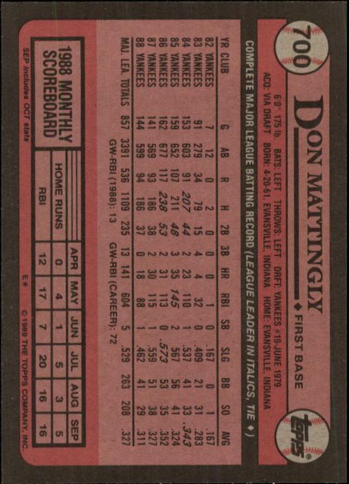 1989 Topps Don Mattingly 700 Baseball Card Ebay