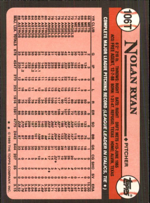 1989 Topps Traded #106T Nolan Ryan back image