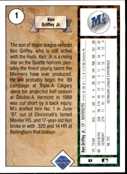 1989 Upper Deck #1 Ken Griffey Jr. RC back image