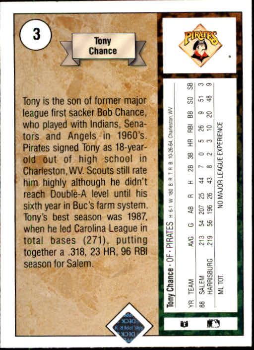 1989 Upper Deck #3 Tony Chance RC back image