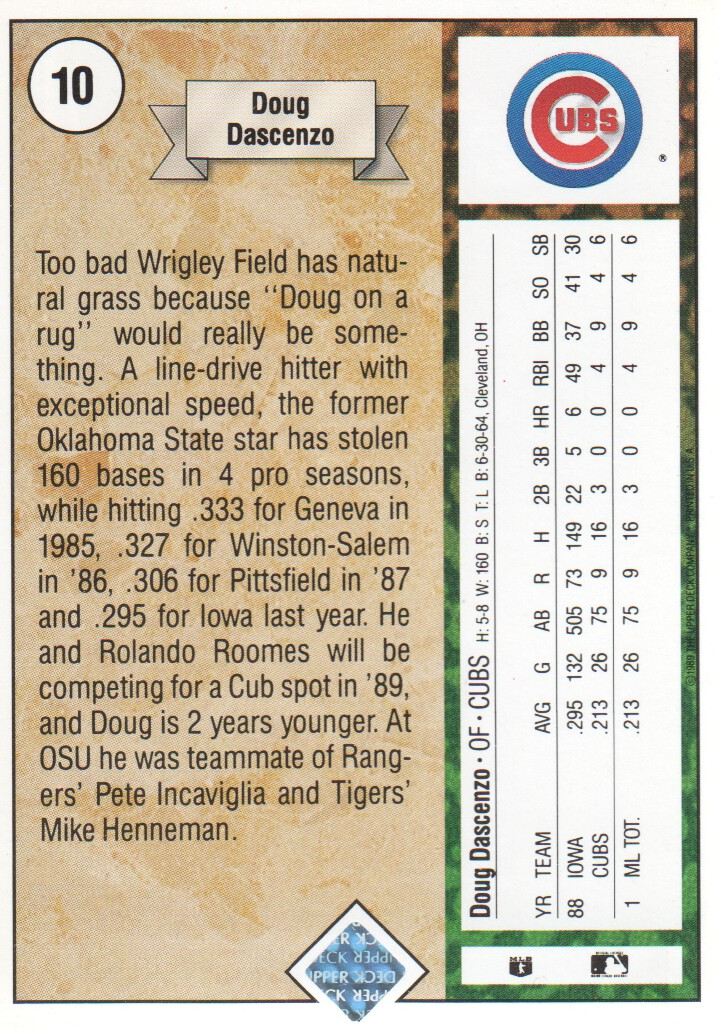 1989 Upper Deck #10 Doug Dascenzo RC back image