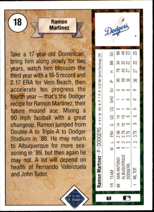 1989 Upper Deck #18 Ramon Martinez RC back image
