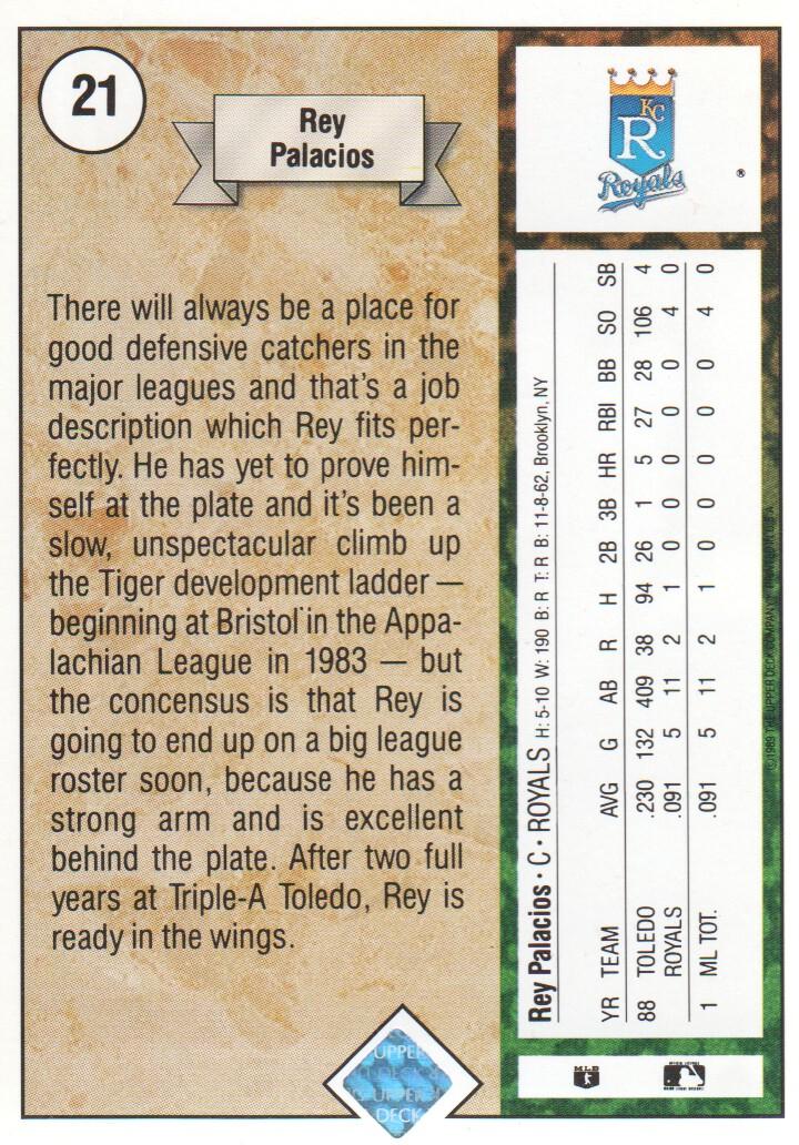 1989 Upper Deck #21 Rey Palacios RC back image