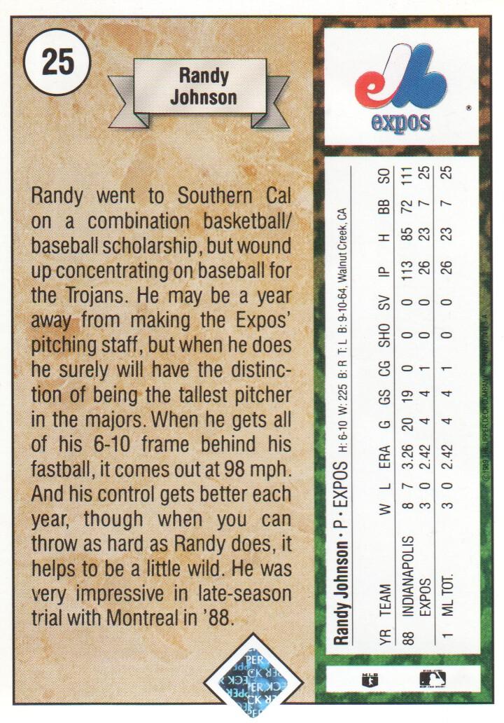 1989 Upper Deck #25 Randy Johnson RC back image