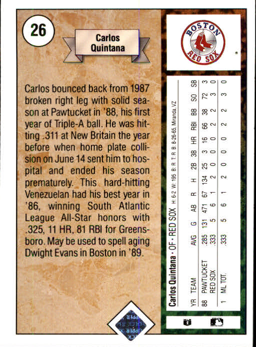 1989 Upper Deck #26 Carlos Quintana RC back image