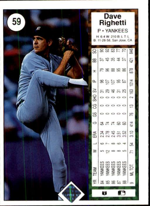 1989 Upper Deck #59 Dave Righetti back image