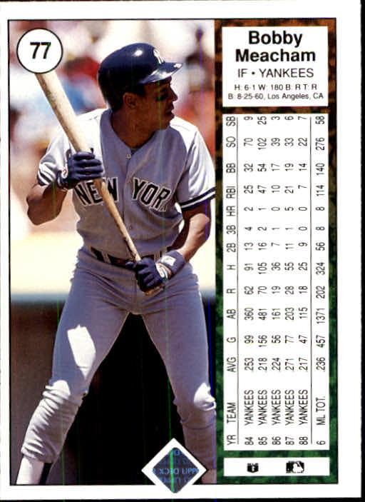 1989 Upper Deck #77 Bobby Meacham back image