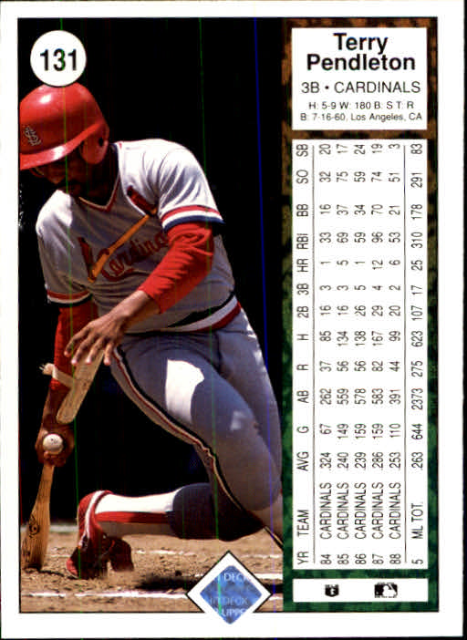 1989 Upper Deck #131 Terry Pendleton back image