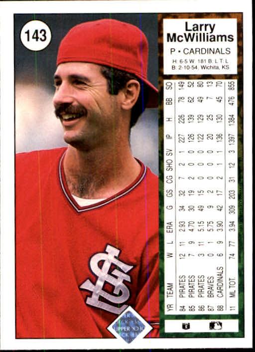 1989 Upper Deck #143 Larry McWilliams back image