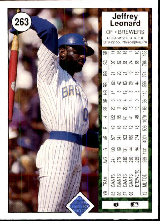 1989 Upper Deck #263 Jeffrey Leonard back image