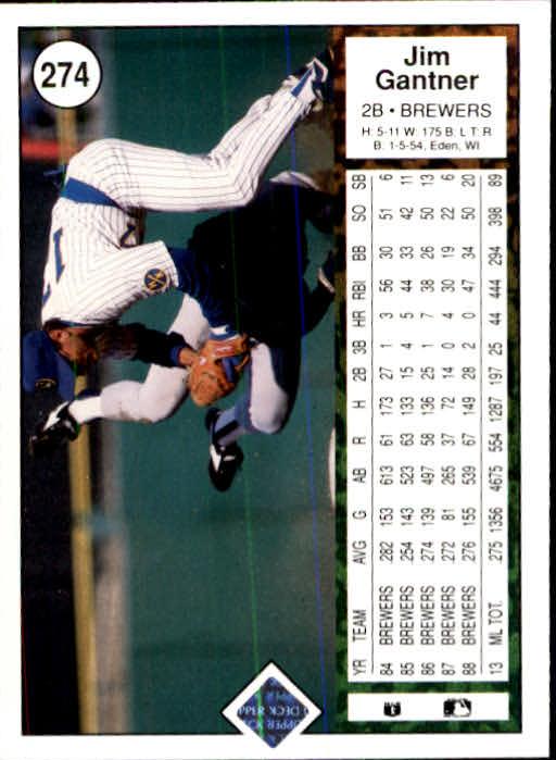 1989 Upper Deck #274 Jim Gantner back image