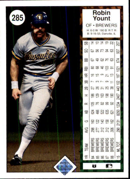 1989 Upper Deck #285 Robin Yount back image