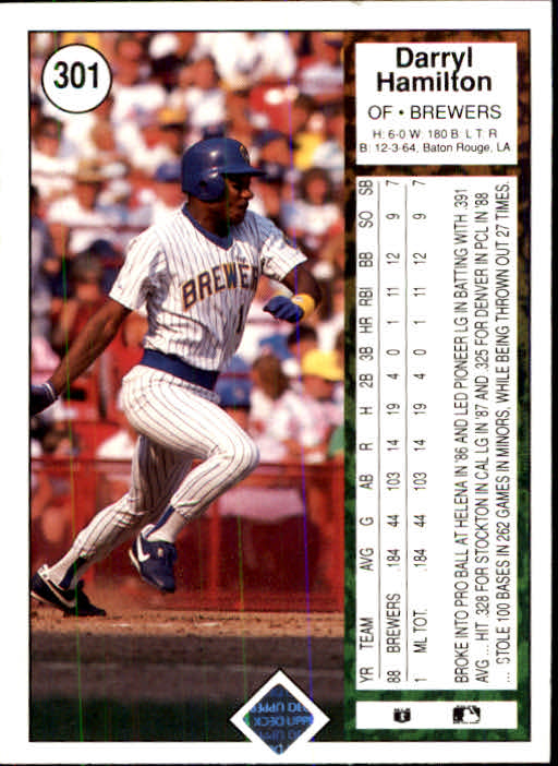 1989 Upper Deck #301 Darryl Hamilton RC back image