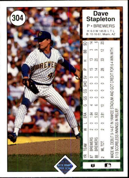 1989 Upper Deck #304 Dave Stapleton back image