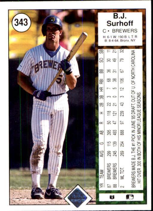 1989 Upper Deck #343 B.J. Surhoff back image