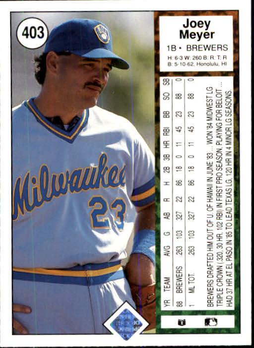 1989 Upper Deck #403 Joey Meyer back image