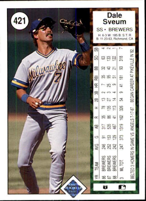 1989 Upper Deck #421 Dale Sveum back image
