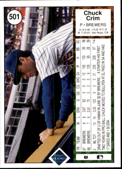 1989 Upper Deck #501 Chuck Crim back image