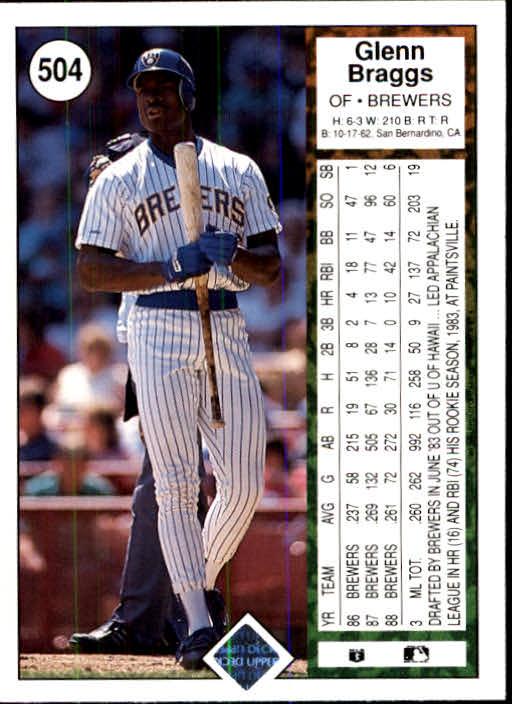 1989 Upper Deck #504 Glenn Braggs back image