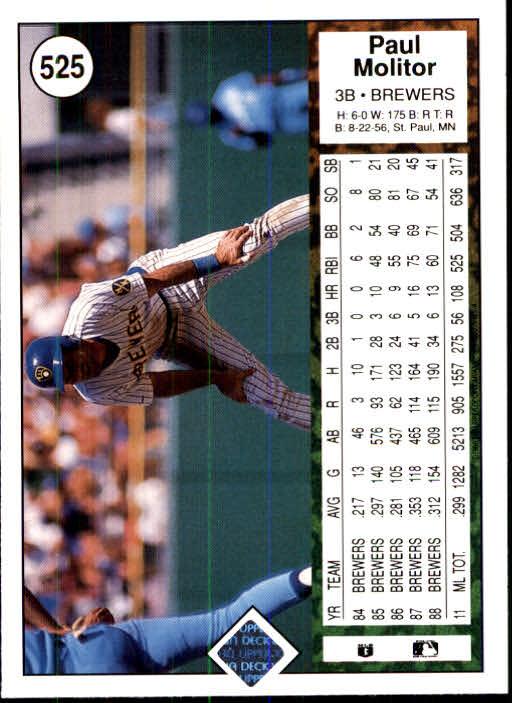 1989 Upper Deck #525 Paul Molitor back image