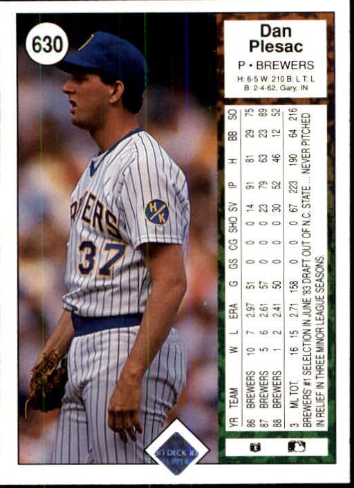1989 Upper Deck #630 Dan Plesac back image