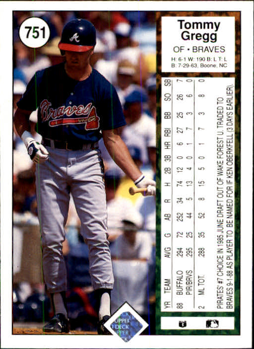 1989 Upper Deck #751 Tommy Gregg back image