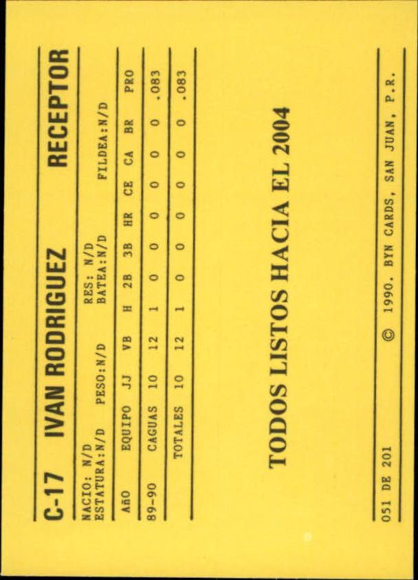 1989-90 BYN Puerto Rico Winter League #51 Ivan Rodriguez