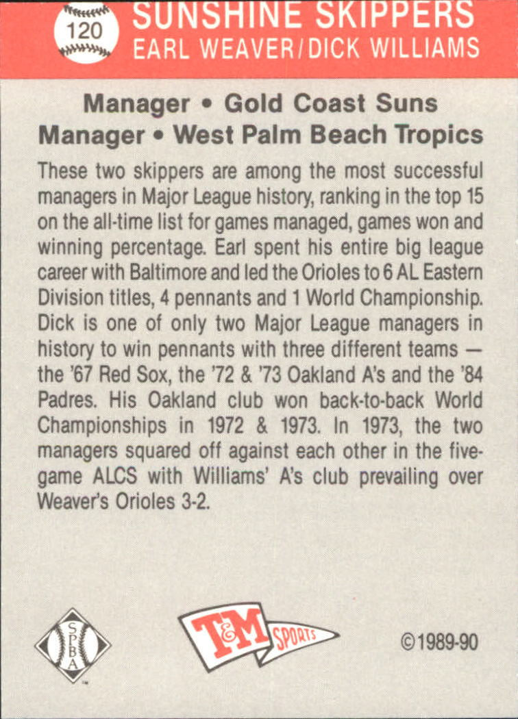1989-90 T/M Senior League #120 Sunshine Skippers/Earl Weaver/Dick Williams back image