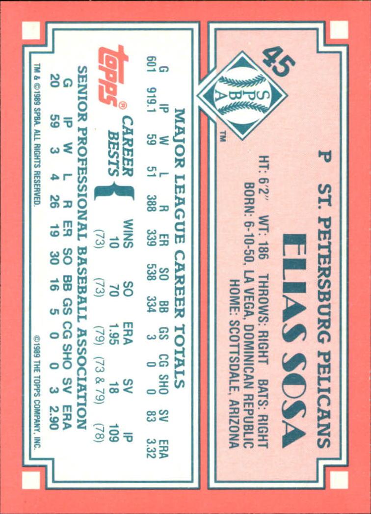 1989-90 Topps Senior League #45 Elias Sosa back image