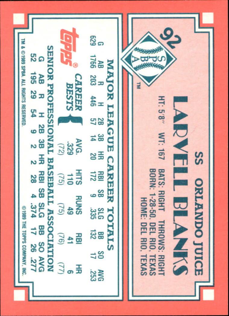 1989-90 Topps Senior League #92 Larvell Blanks back image