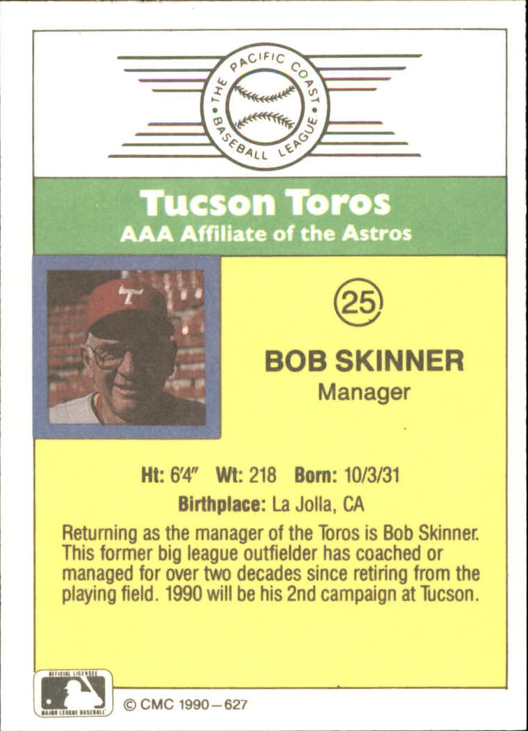 1990 CMC #627 Bob Skinner MG back image