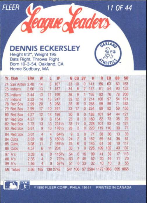 1990 Fleer League Leaders #11 Dennis Eckersley back image
