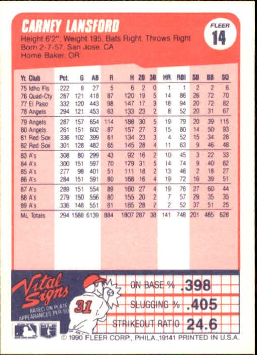 1990 Fleer #14 Carney Lansford back image