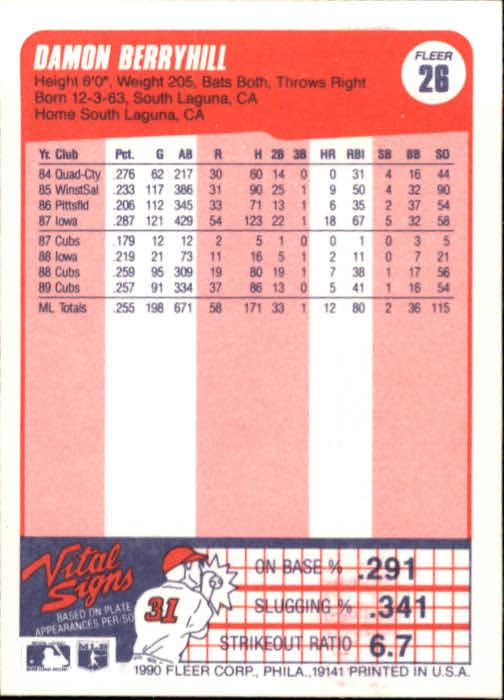1990 Fleer #26 Damon Berryhill back image